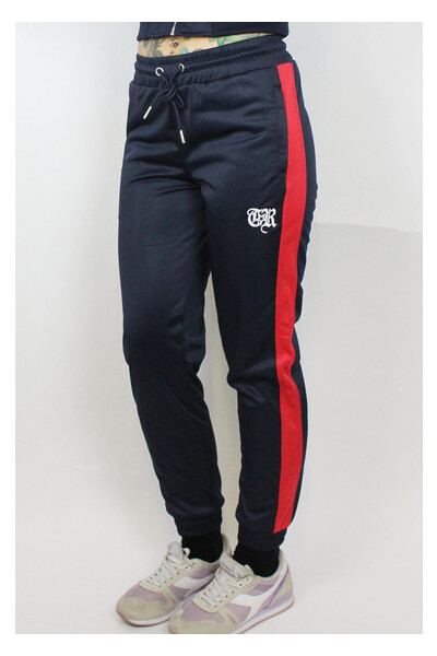 True Rebel Ladies Track Pants Navy Red