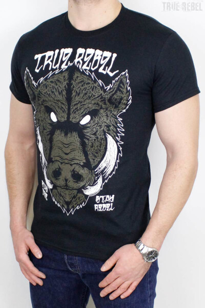 True Rebel T-Shirt Wild Boar Black