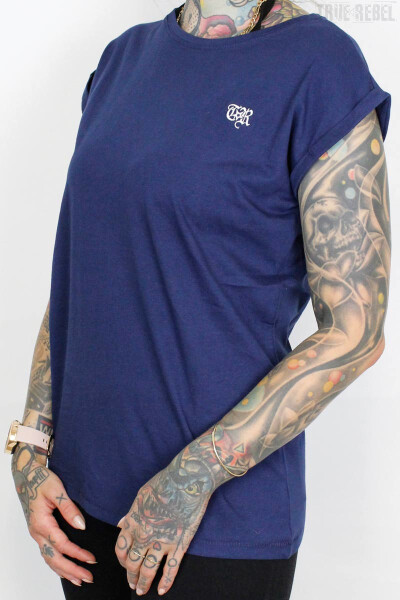 True Rebel Ladies Shirt Extended Shoulder Dark Blue