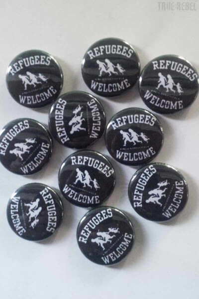 True Rebel Button Refugees Welcome Black