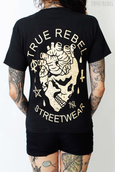 True Rebel T-Shirt Heartskull Black