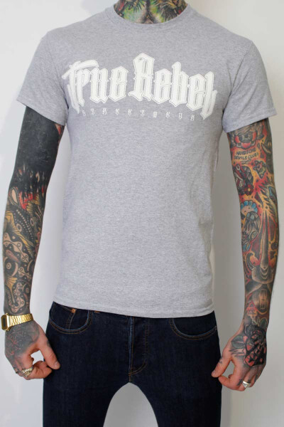 True Rebel T-Shirt Vatos Locos Grey White