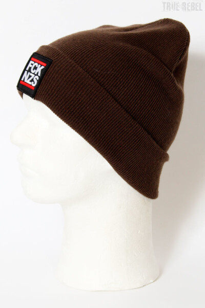 True Rebel Beanie FCK NZS Dark Chocolate