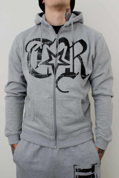 True Rebel Zip Hoodie Logo Grey